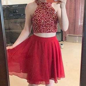 Dresses & Skirts - Red Sequin Two Piece Homecoming Dress
